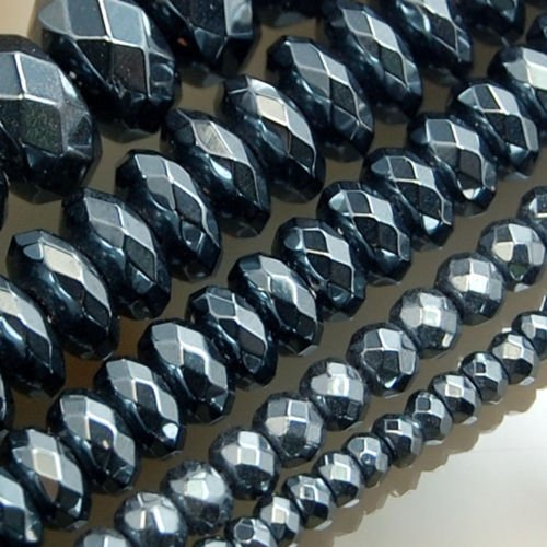 AD Beads Hematite Gemstone Smooth or Faceted Rondelle Spacer Beads 16