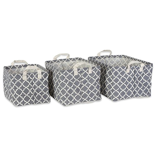 DII Cotton/Polyester Cube Laundry Basket, Perfect In Your Bedroom, Nursery, Dorm, Closet, Assorted Small Set of 3 - Gray Lattice