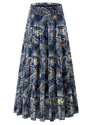 (NASHALYLY High Waisted Maxi Skirt - Women's Chiffon Floral Print High Waist Pleated A-Line Flared Long Skirts(13 L))