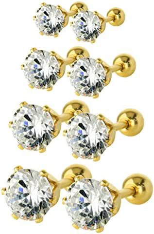 JewelrieShop Fun Girls Tiny CZ Fronts Barbell Backs Stainless-steel Cartilage Tragus Screw Stud Earring