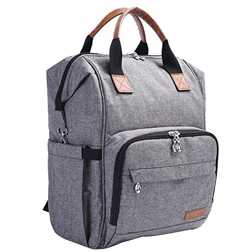 Diaper Bag Backpack, Multi Function Baby Nappy Organizer with Insulated Pockets, Changing Pad, Stroller Straps, Leather Handle (Pure Grey)