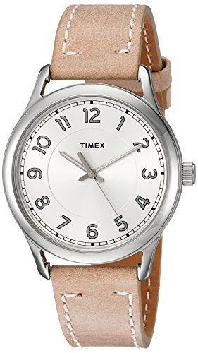 Timex Women's TW2R23200 New England Sand/Silver Leather Strap Watch