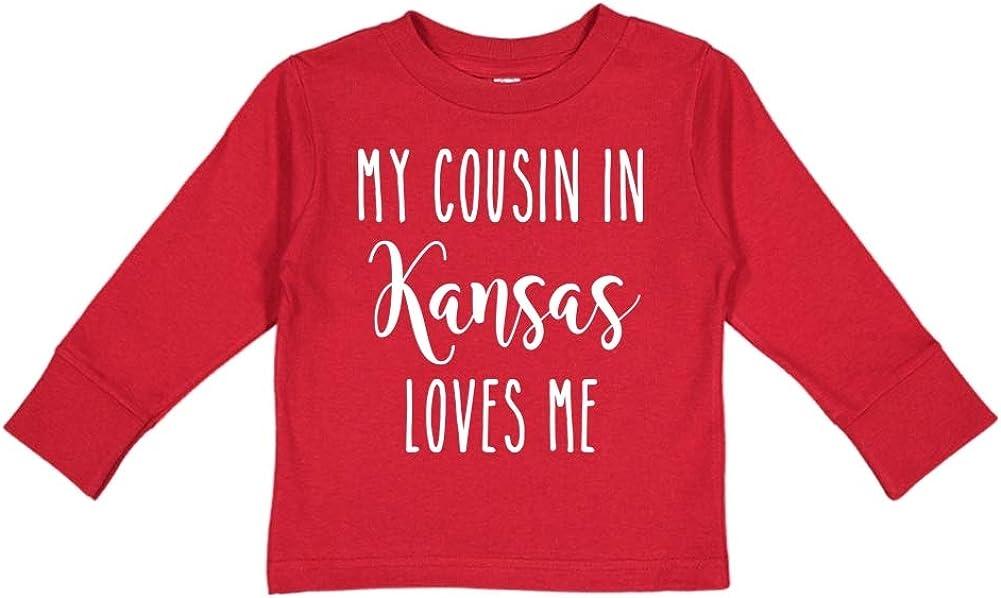 Toddler//Kids Long Sleeve T-Shirt My Cousin in Kansas Loves Me