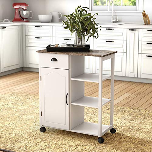 - Simple Interior Kitchen Cart with Marble Top - Mobile Kitchen Island - Multi Storage Sideboard Buffet - Modern Rolling Workstation - Can be use as Console Table Breakfast Bar