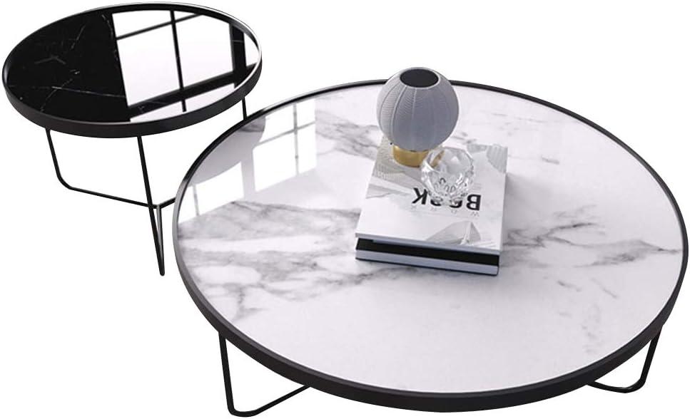 Beperk Korting LAMXF bijzettafel woonkamer metaal Runder, elegante 2-delige salontafel van metaal met marmeren plaat, 50x50cm / 80x40cm zwart + wit F9b0I5V