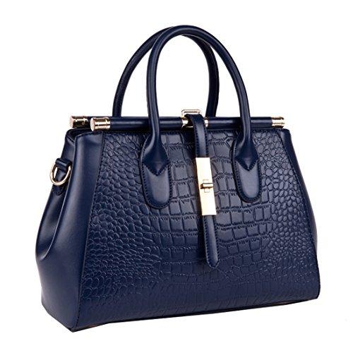 blue Cowskin Navy Missmay Shoulder Print Vintage Crocodile Handbag Leather Women's Purse XqaqRFv