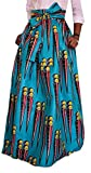Pivaconis Womens Vintage High Rise Dashiki Pleated Swing Africa Long Skirts Blue 4X-Large