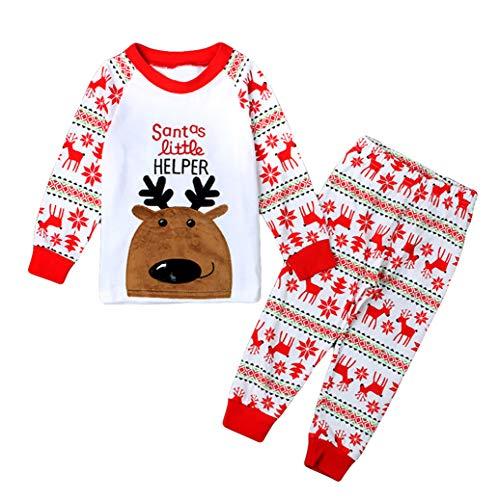 (Toddler Girls Moose Reindeer Pajamas Sets 100% Cotton Long Sleeve Novelty Sleepwear Infant Kids Christmas Pjs Nightwear for Size)