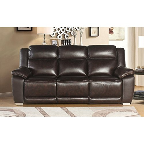 Abbyson Living Graham Top Grain Leather Reclining Sofa in Brown -