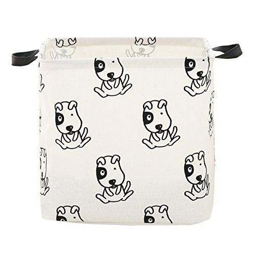 FUNNYGO Square Canvas Storage Bins Cute Animal Theme Toy Box Collapsible Waterproof Nursery Hamper for Laundry, Kids Toys,Baby Room,Gift Baskets 13 inch?Dog?