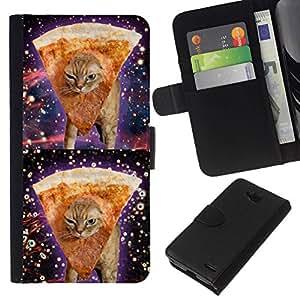 All Phone Most Case / Oferta Especial Cáscara Funda de cuero Monedero Cubierta de proteccion Caso / Wallet Case for LG OPTIMUS L90 // Space Weed Pizza Cat 420 Funny Stoned