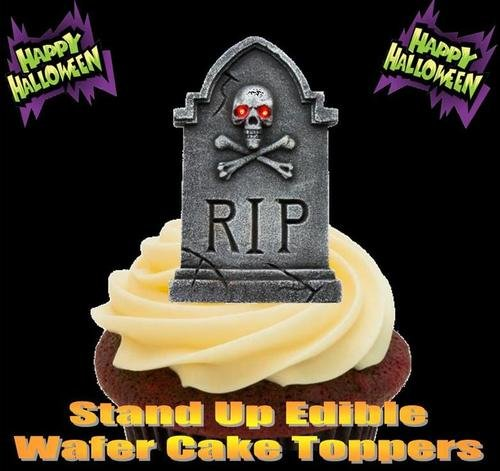 HALLOWEEN RIP GRAVESTONE SKULL - 12 Edible Stand Up Premium Wafer Cake Toppers ()