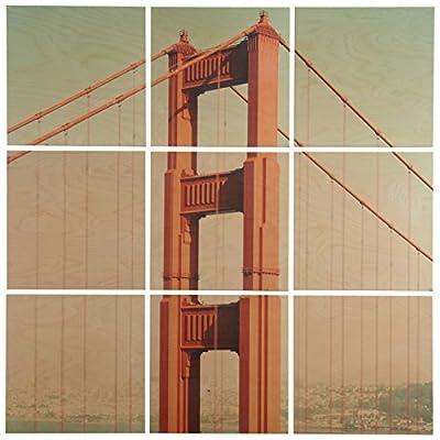 9-Piece Golden Gate Bridge Mural on Wood -  - wall-art, living-room-decor, living-room - 51g6bfjYYCL. SS400  -