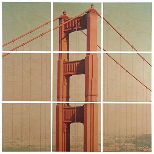 9 piece golden gate bridge mural on wood lavorist for Kitchen cabinets lowes with golden gate wall art