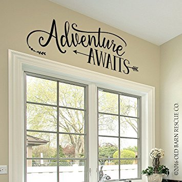 Adventure Awaits Vinyl Wall Decal Sticker Bedroom Decor Living Room Wall Decor (33'' x 11'') by Old Barn Rescue Co.
