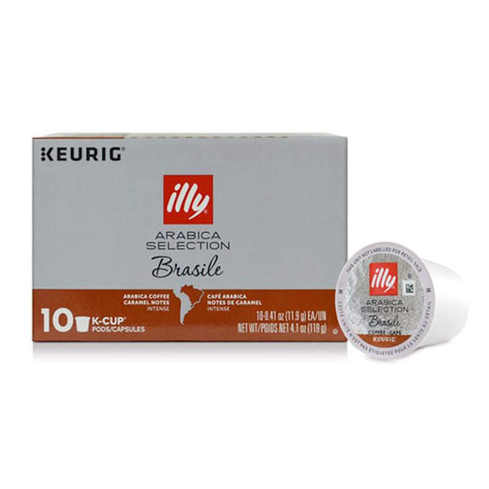 illy Arabica Selections Brasile, 100% Arabica Bean Signature Italian Blend Roasted, Single Serve Drip Brewed Coffee K Cup Pods, Coffee Pods for Keurig Coffee Machines, K-Cups, 10 K-Cup Pods