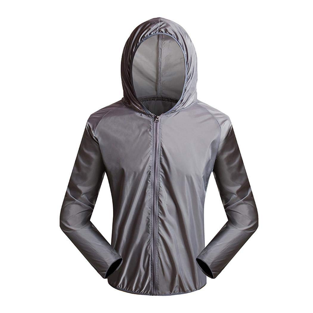 Mandii Men Casual Hooded Neck Long Sleeve Solid Zipper Sun Protection Coat Top Track /& Active Jackets