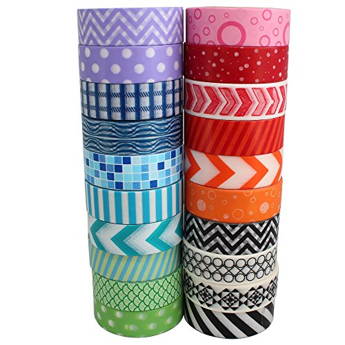 Go Craft Washi Tape Collection with Colorful Wide Bright Geometric Japanese Patterns