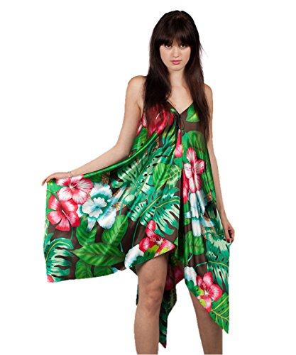 Gr. S: Urlaubstraum aus 100% Seide: extra-weit geschnittenes Damen-Seiden-Kaftankleid im Zipfel-Look, multi-colour S (36)