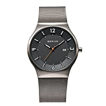 BERING Time Men's Solar Collection Watch with Mesh Band and scratch resistant sapphire crystal. Designed in Denmark. 14440-077 by Bering