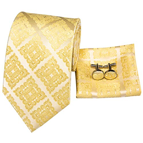 Hi-Tie Mens Gold Yellow Novelty Woven Silk Tie Necktie with Cufflinks and Pocket Square Tie Set
