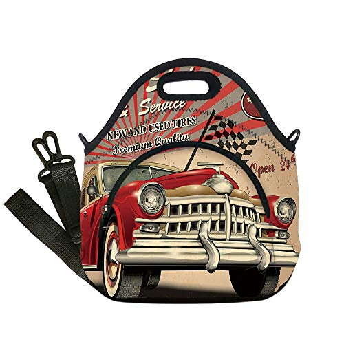 Insulated Lunch Bag,Neoprene Lunch Tote Bags,Cars,Tires Shop and Service Route 66 Emblem Advertisement Retro Style Poster Print,Red Grey Sepia,for Adults and children