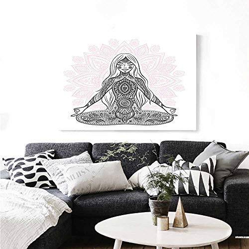 Warm Family Chakra Modern Canvas Painting Wall Art Ornate Girl Figure on Lotus Flower with Eastern Symbols on Body Mind Calming Concept Art Stickers 36