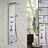 "Votamuta 55"" Stainless Steel Rain Waterfall, Massage Jets & Rain Style Hand Shower System Shower Panel"