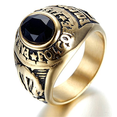 Alimab Stainless Steel Finger Rings Gold Plated Engraved Men Fashion Black Zirconia Gift For Boyfriend US Size 13 (Black Canary Boots)