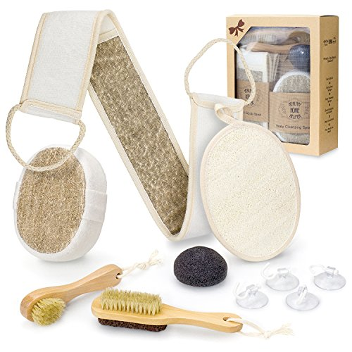 Bath Exfoliating Set - Bath Body Spa Gift Set for Home Spa - Complete Scrub Kit Accessory Includes Konjac Sponge, Loofah Pad, Back & Foot Scrubbers, Facial Brush, Pumice Stone, Body Sponge, Suction Hooks and Storage Bag