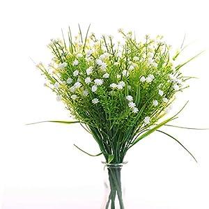 JAKY Global Artificial Flowers Babysbreath Fake Water Plants Bouquet 6 Bundle Fake Plants Wedding Bridle Bouquet Outdoor Home Office Christmas Decor (White)