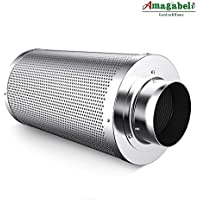 """Amagabeli 6 inch Carbon Filter Odor Control 6 in Air Scrubber with Australia Virgin Coconut Activated Charcoal for Hydroponics Indoor Plants Grow Tent Room for 6"""" Inline Fan Combo Pre-filter Included"""