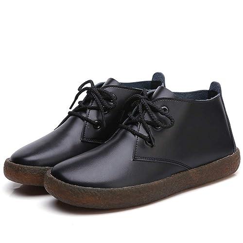 Zapatos de Mujer de Cuero Mujer Primavera Otoño Zapatos Botines Solo Tacones Bajos Botines: Amazon.es: Zapatos y complementos