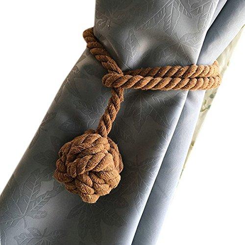 Vosarea Cuerda de Cortina a Mano Cuerda Cuerda de algodón Rural Corbata para decoración de la Playa Habitaciones rústicas (café Claro)