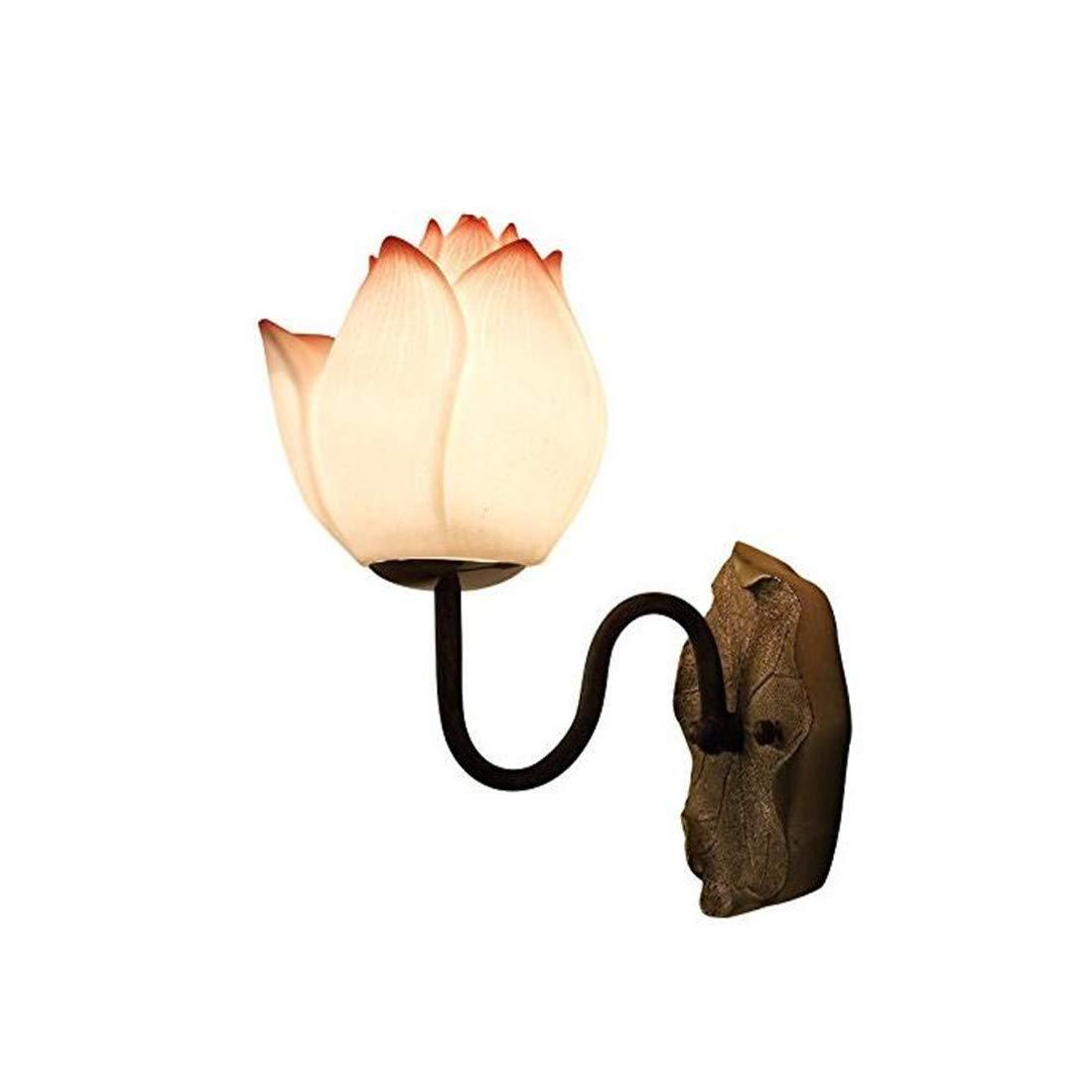 Vintage Chandelier Chinese Antique Lotus Laterne Wandlampe Nachttischlampe Treppen Wandleuchten Hotel Gang Hj8881 Lin Pollenfarbe + Freie Lichtquelle, Lin Pollenfarbe + Freie Lichtquelle
