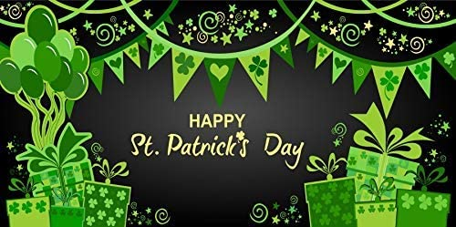 Happy St.Patricks Day 10x7ft Green Vinyl Photography Background Lucky Shamrocks Rainbow Clover Bunting Balloon Gift Festival Celebrate Child Adult Wallpaper Banner Photo Portraits Shoot