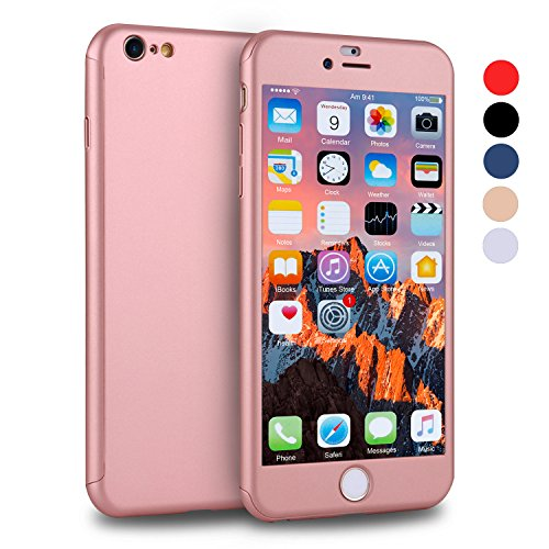 iPhone 6s Case, VANSIN 360 Full Body Cover Ultra Thin Protective Hard Slim Case Coated Non Slip Matte Surface with Screen Protector for Apple iPhone 6 and iPhone 6s (4.7) - Rose Gold