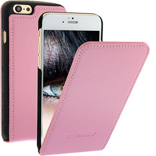 Blumax ® Flip Ledertasche Pink mit Magnetverschluss für IPhone 6 IPhone 6S | Case Hülle cover Etui Tasche flipstyle flipcase Klappbar aus echtem Leder Schutzhülle Lederhülle Glamour Luxus star
