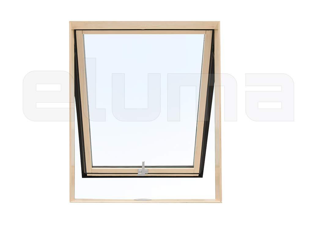 completa modelo COMFORT VASISTAS//Claraboya certificada y altamente aislante//Apertura tipo Velux//Vidrio antigranizo Ventana para tejado Vidrio de seguridad//Aluminio y Madera 55x98 Base x Altura