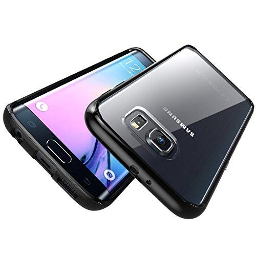 Caja por Galaxy Edge S6, [resistente a arañazos] i-Blason ** Trasparente ** [Serie Halo] Samsung Galaxy S6 Edge cubierta híbrida parachoques (trasparente/neigro) trasparente/neigro