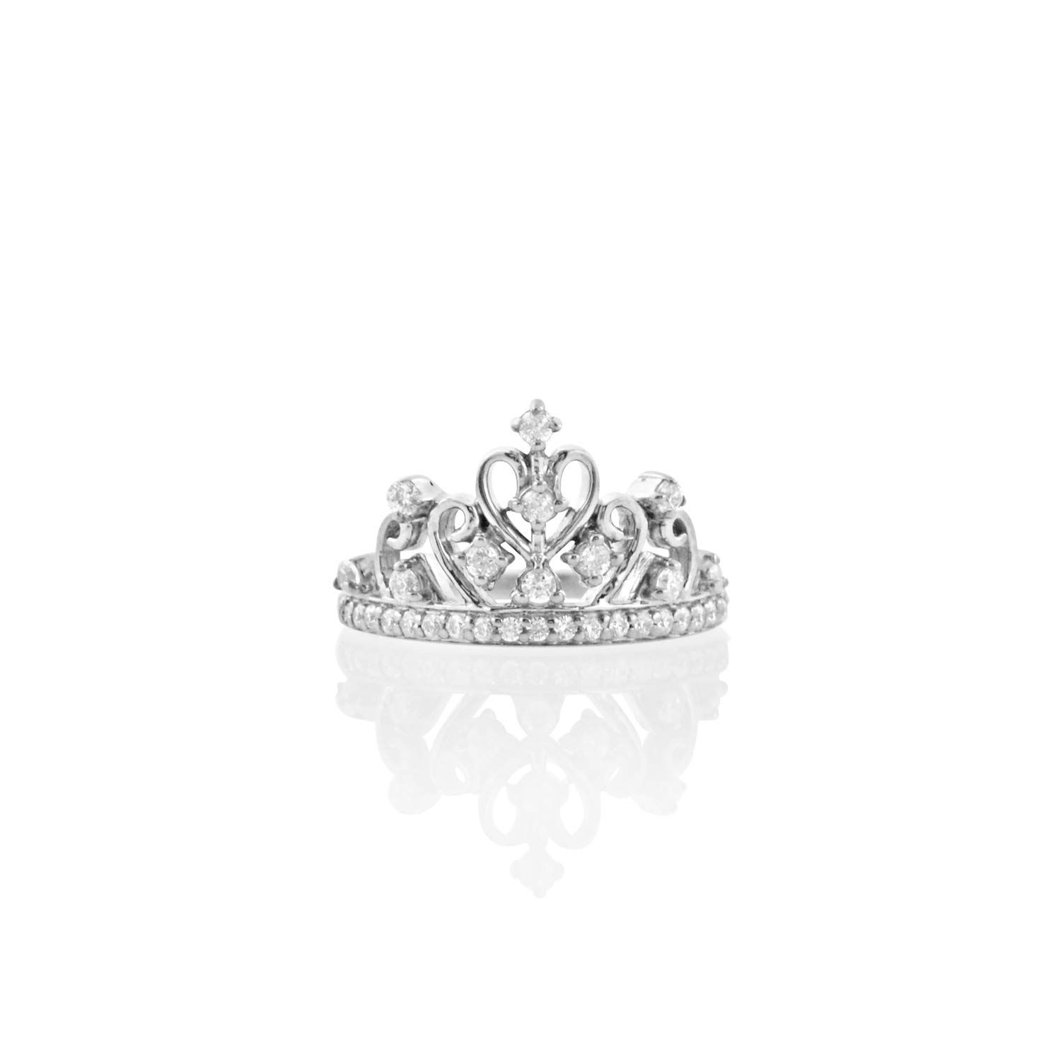 Diamond Scotch Round White Cubic Zirconia Tiara Princess Queen Crown Ring Best for Women Girls in 14k White Gold Over by Diamond Scotch (Image #2)