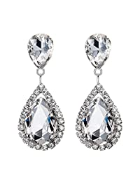 BriLove Women's Wedding Bridal Crystal Teardrop Infinity Dangle