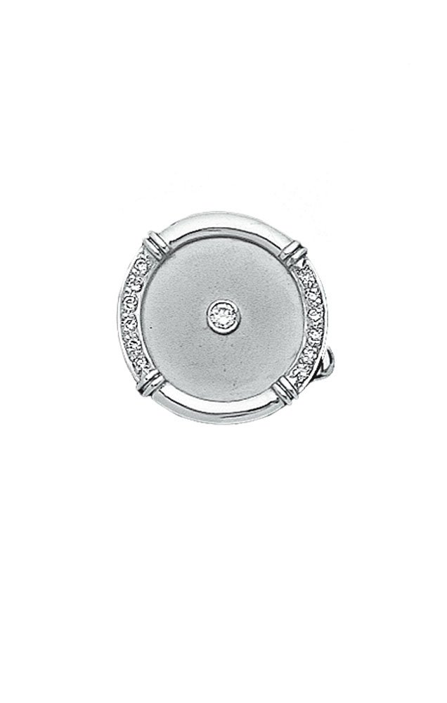 14K White Gold and Diamond Round Tie Tac With Center Stone-86246
