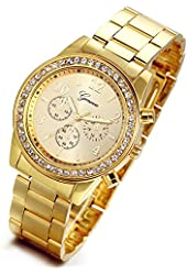 Lancardo Luxury Men's Women's Gold Stainless Steel Quartz Rhinestone Wrist Watch with Gift Bag