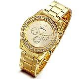 Lancardo Luxury Men's Women's Gold Stainless Steel Quartz Rhinestone Wrist Watch with Gift Bag
