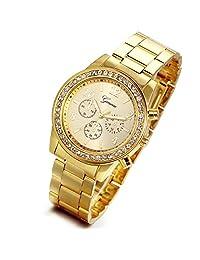 Lancardo Rhinestone Gold-tone Stainless Steel Quartz Unisex Wrist Watch (yellow)