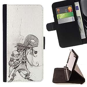 - Queen Pattern FOR Samsung Galaxy Note 4 IV /La identificaci????n del cr????dito ranuras para tarjetas tir????n de la caja Cartera de cuero cubie - pirate skull character sketch
