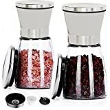 Stainless Steel Salt and Pepper Grinders with Matching Stand,Spice Grinder with Adjustable Coarseness,Salt and Pepper Shakers Mill Pair FBA by SMTMALL