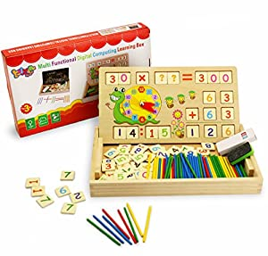 BBLIKE 176pcs Counting Games Toy Wood Creative Puzzle, Teaching Clock Math  Learning Tool   Times Tables Blocks Cube Wooden Blocks Number Maths Games  ...