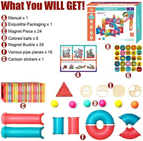ZAYOR Magblock Magnetic Tiles for Kids 3D with Clear Color Educational Toys Magnetic Building Blocks Stem Toy for 3 4 5 6 7 Year Old Boys Girls Toys Set 72 Pcs